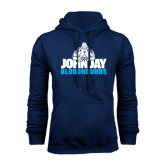 Navy Fleece Hood-John Jay Bloodhounds