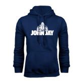 Navy Fleece Hoodie-Mascot on John Jay