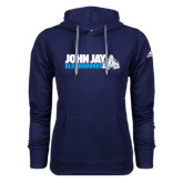 Adidas Climawarm Navy Team Issue Hoodie-John Jay Bloodhounds w Hound Flat