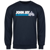 Navy Fleece Crew-John Jay Bloodhounds w Hound Flat