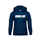 Youth Navy Fleece Hood-John Jay