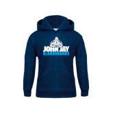 Youth Navy Fleece Hoodie-John Jay Bloodhounds