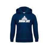Youth Navy Fleece Hood-Mascot on John Jay