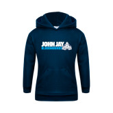 Youth Navy Fleece Hoodie-John Jay Bloodhounds w Hound Flat