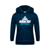 Youth Navy Fleece Hoodie-Softball