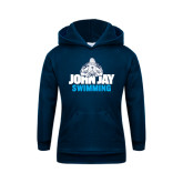 Youth Navy Fleece Hoodie-Swimming