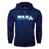 Navy Fleece Full Zip Hood-John Jay Bloodhounds w Hound Flat
