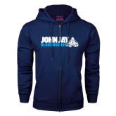 Navy Fleece Full Zip Hoodie-John Jay Bloodhounds w Hound Flat