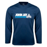 Performance Navy Longsleeve Shirt-John Jay Bloodhounds w Hound Flat
