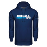 Under Armour Navy Performance Sweats Team Hood-John Jay Bloodhounds w Hound Flat