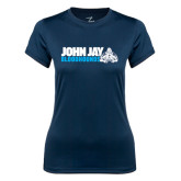 Ladies Syntrel Performance Navy Tee-John Jay Bloodhounds w Hound Flat