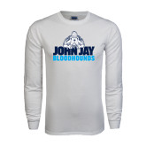 White Long Sleeve T Shirt-John Jay Bloodhounds
