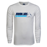White Long Sleeve T Shirt-John Jay Bloodhounds w Hound Flat