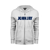 ENZA Ladies White Fleece Full Zip Hoodie-John Jay