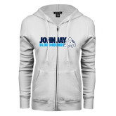 ENZA Ladies White Fleece Full Zip Hoodie-John Jay Bloodhounds w Hound Flat