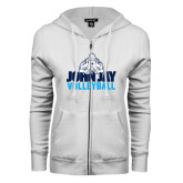 ENZA Ladies White Fleece Full Zip Hoodie-Volleyball