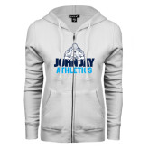ENZA Ladies White Fleece Full Zip Hoodie-Athletics