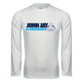 Performance White Longsleeve Shirt-John Jay Bloodhounds w Hound Flat