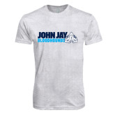 Next Level Heather White Tri Blend Crew-John Jay Bloodhounds w Hound Flat