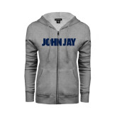 Ladies Grey Fleece Full Zip Hoodie-John Jay