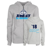 Ladies Grey Fleece Full Zip Hoodie-John Jay Bloodhounds