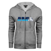 ENZA Ladies Grey Fleece Full Zip Hoodie-John Jay Bloodhounds w Hound Flat