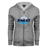 ENZA Ladies Grey Fleece Full Zip Hoodie-Softball