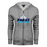 ENZA Ladies Grey Fleece Full Zip Hoodie-Cross Country