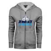 ENZA Ladies Grey Fleece Full Zip Hoodie-Athletics