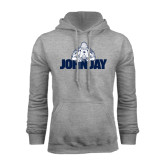 Grey Fleece Hood-Mascot on John Jay