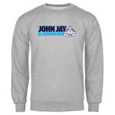 Grey Fleece Crew-John Jay Bloodhounds w Hound Flat