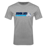 Grey T Shirt-John Jay Bloodhounds w Hound Flat