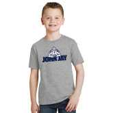 Youth Grey T-Shirt-Mascot on John Jay