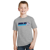 Youth Grey T-Shirt-John Jay Bloodhounds w Hound Flat