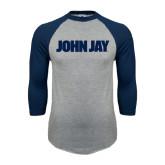 Grey/Navy Raglan Baseball T Shirt-John Jay