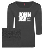 Ladies Charcoal Heather Tri Blend Lace 3/4 Sleeve Tee-Official Logo