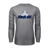 Grey Long Sleeve T Shirt-Mascot on John Jay