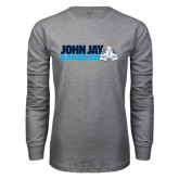 Grey Long Sleeve T Shirt-John Jay Bloodhounds w Hound Flat