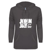 ENZA Ladies Dark Heather V-Notch Raw Edge Fleece Hoodie-Official Logo