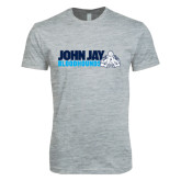 Next Level SoftStyle Heather Grey T Shirt-John Jay Bloodhounds w Hound Flat