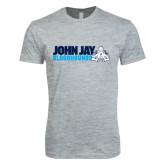 Next Level SoftStyle Heather Grey T Shirt-John Jay Bloodhounds w Hound Flat