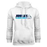 White Fleece Hoodie-John Jay Bloodhounds w Hound Flat
