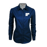 Ladies Navy Twill Button Down Long Sleeve-Official Logo