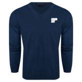 Classic Mens V Neck Navy Sweater-Official Logo