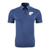 Indigo Blue Horizontal Textured Polo-Official Logo