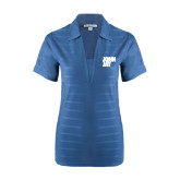 Ladies Indigo Blue Horizontal Textured Polo-Official Logo
