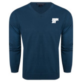 Classic Mens V Neck Moroccan Blue Sweater-Official Logo