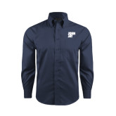 Red House Deep Blue Herringbone Non Iron Long Sleeve Shirt-Official Logo