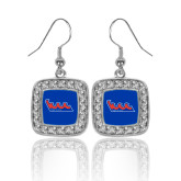 Community College Crystal Studded Square Pendant Silver Dangle Earrings-The Wave