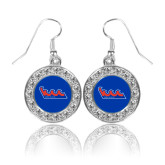 Community College Crystal Studded Round Pendant Silver Dangle Earrings-The Wave